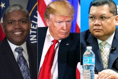Two Africa posts to be filled by Trump administration? Cyril Sartor (far left) from the CIA may be picked to direct Africa at the National Security Council in the White House. J. Peter Pham from the Atlantic Council may be named Assistant Secretary of State for Africa.