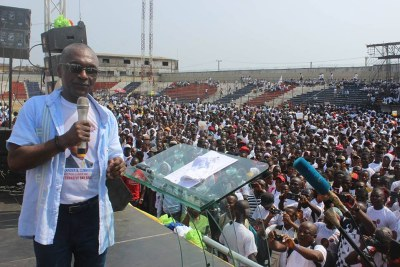 Alexander Cummings, the former executive of Coco cola who's running for president of Liberia on the campaign trail.