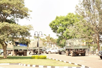 Trucks transport voting materials from National Electoral Commission headquarters.