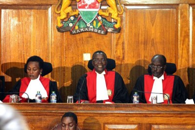 Deputy Chief Justice Philomena Mwilu, Chief Justice David Maraga and Justice Mohamed Ibrahim at the Supreme Court (file photo).