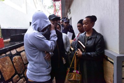 Members of the late Kigali tycoon Assinapol Rwigara's family when they were taken in for questioning by Rwanda police on September 4, 2017 at their residence in Kiyovu.