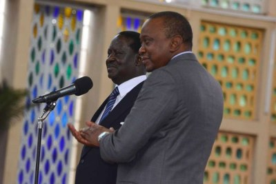 President Uhuru Kenyatta with Nasa leader Raila Odinga (file photo).