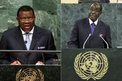Namibian President Hage Geingob and Zimbabwean President Robert Mugabe.