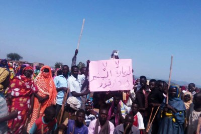 Protestors at Zalingei camp in Central Darfur (file photo).