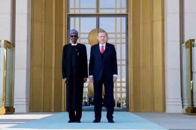 President Buhari with President Recep Tayyip Erdogan of Turkey at the Presidential Palace in Ankara (file photo).