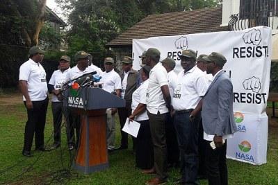 Nasa MPs after addressing journalists at Okoa Kenya offices in Nairobi on November 03, 2017.