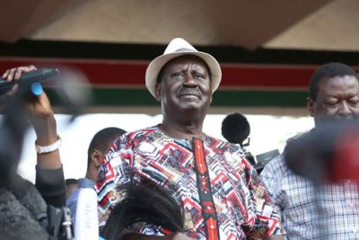 Nasa leader Raila Odinga at Uhuru Park on October 25, 2017 where hy called on his supporters to boycott the October 26 presidential election.
