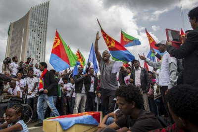 Eritrean refugees protesting in Ethiopia.