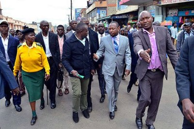 Governor Mike Sonko during a tour in the city centre (file photo).