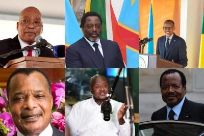 South Africa's President Jacob Zuma, DR Congo's Joseph Kabila, Rwanda's President Paul Kagame, Congo Brazzaville's President Dennis Sassou-Nguesso, Uganda's Yoweri Museveni and Cameroon's Paul Biya.