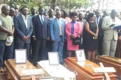 Raila Odinga (third left) and other Nasa leaders attend prayers for people who were killed during post-poll chaos at the City Mortuary in Nairobi.