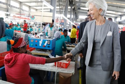 Christine Lagarde at the Eastern Industrial Park in Addis: