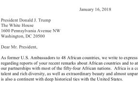 africa letter to president trump from former us ambassadors to africa