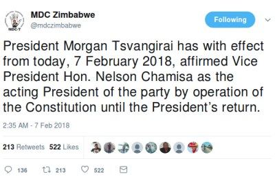 MDC-T's Twitter account also tweeted Nelson Chamisa's alleged appointment.