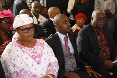 From left, Thokozani Khupe, Nelson Chamisa and Elias Mudzuri at Morgan Tsvangirai funeral.