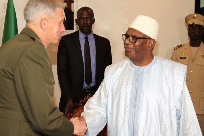 The commander of United States forces in Africa, General Thomas D. Waldhauser, greets President Ibrahim Keita of Mali during a recent meeting in Bamako.