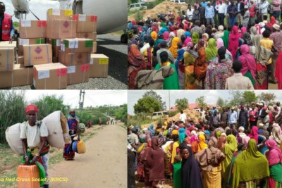 Aid being provided to displaced Ethiopians in Kenya.