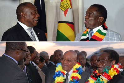 Top row: Presidents Cyril Ramaphosa and Emmerson Mnanmgagwa. Bottom row: Former presidents Jacob Zuma and Robert Mugabe (file photo).