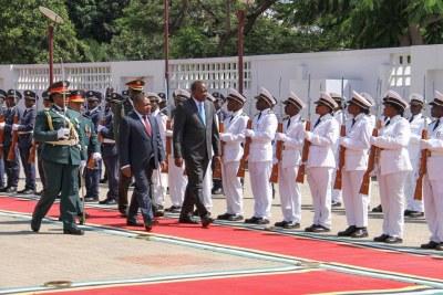 President Uhuru Kenyatta on his first state visit to Mozambique with President Filipe Nyusi.