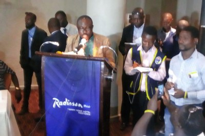 J.J. Saffa spoke to the press at the Radisson Blu in Freetown