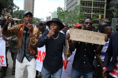 University students demonstrate against the ongoing lecturers' strike, in Nairobi on April 4, 2018.