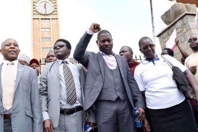 Public universities union members protest outside Parliament, Nairobi, on April 4, 2018.