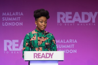 Chimamanda Ngozi Adichie sharing a personal malaria story at Global Malaria Summit, London.
