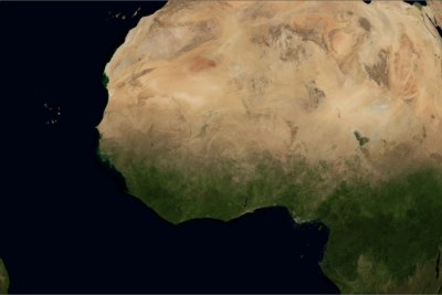 Satellite view of West Africa.
