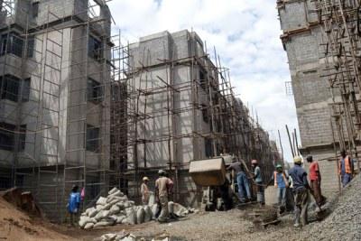 Construction of civil servants' houses in Kisumu County (file photo).
