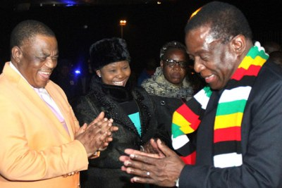 President Emmerson Mnangagwa, Vice President Constantino Chiwenga and Defence Minister Oppah Muchinguri-Kashiri, second from right (file photo).