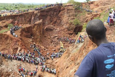 The scene at Macalder village in Nyatike, Migori County where a mining tunnel caved in trapping six miners on May 8, 2018.