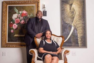 South African President Cyril Ramaphosa's son Andile and his bride-to-be Rwakairu Bridget.