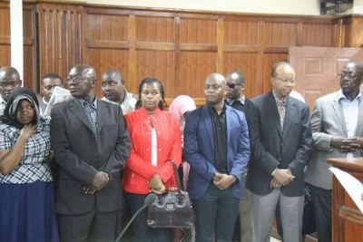 National Youth Service graft suspects appear before Nairobi Chief Magistrate in 2016.
