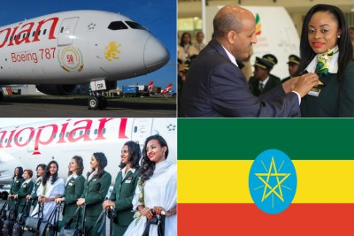 Ethiopian aircrafft, Ethiopian Airlines Group CEO Tewolde Gebremariam awarding trainees, First all-women crew.