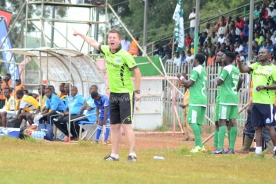 Gor Mahia head coach Dylan Kerr shouts instructions from the touchline (file photo).
