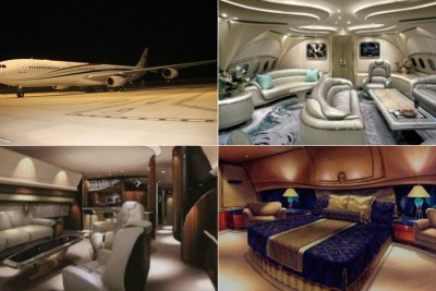 These images reportedly show the interior of King Mswati's plane.