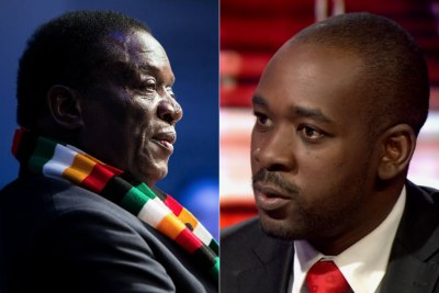 President Emmerson Mnangagwa and Nelson Chamisa (file photo).
