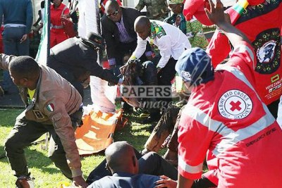 First aiders attend to the injured following an explosion that rocked White City Stadium where President Emmerson Mnangagwa was addressing thousands of Zanu-PF supporters on Saturday.