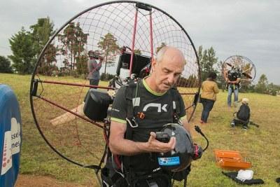 Member of Rwanda Flying Club, Sebastian Houben, after making a landing at Huye Aerodrome.