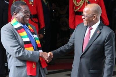 Tanzania President John Magufuli and Zimbabwe President Emmerson Mnangagwa during mnangagwa's two day state visit in Tanzania.