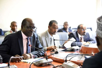 From left, IEBC chairman Wafula Chebukati, commissioners Prof Yusuf Guliye and commissioner Molu Boya when they appeared before the Senate Justice, Legal Affairs and Human Rights Committee (file photo).