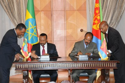 Eritrea and Ethiopia have signed a Joint Declaration of Peace and Friendship today. The Agreement, which specifies five pillars, was signed this morning at State House by President Isaias Afwerki and Prime Minister Abiy Ahmed