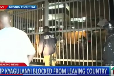 The scene outside Kirudu Hospital, where it is believed two Ugandan MPs are being examined after being blocked from leaving the country.