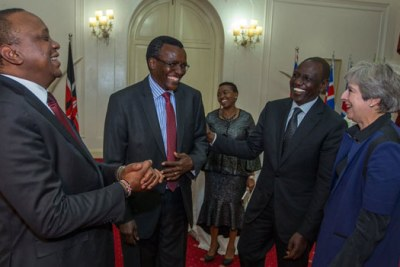 President Uhuru Kenyatta during a State Banquet he and First Lady Margaret Kenyatta hosted in honour of the visiting British Prime Minister Theresa May.