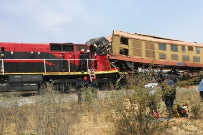 The site of a train collision accident in Bibala, Namibe Province in southern Angola.