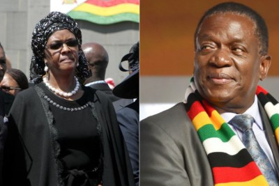 Former Zimbabwe first lady Grace Mugabe and Zimbabwe President Emmerson Mnangagwa.