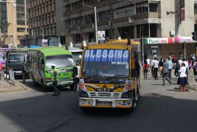 Matatus on Mama Ngina Street within Nairobi's Central Business District (file photo).