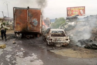 Wreckage of vehicles at Mile 16, Bolifamba, a neighborhood in the Southwestern town of Buea (file photo).