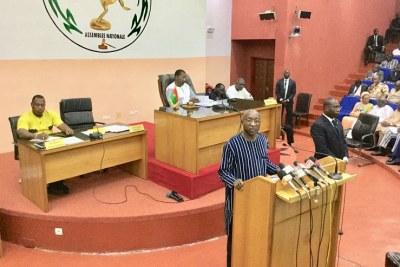 Le premier ministre burkinabé, Paul Kaba Thiéba se prononçant sur le terrorisme au Burkina Faso