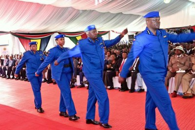 Police officers display their new new uniform (file photo).